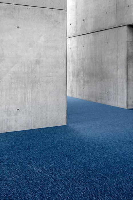 Teppichfliesen oder Teppichboden: Blaue Teppich Bahnenwahre von ege und graue Betonwände