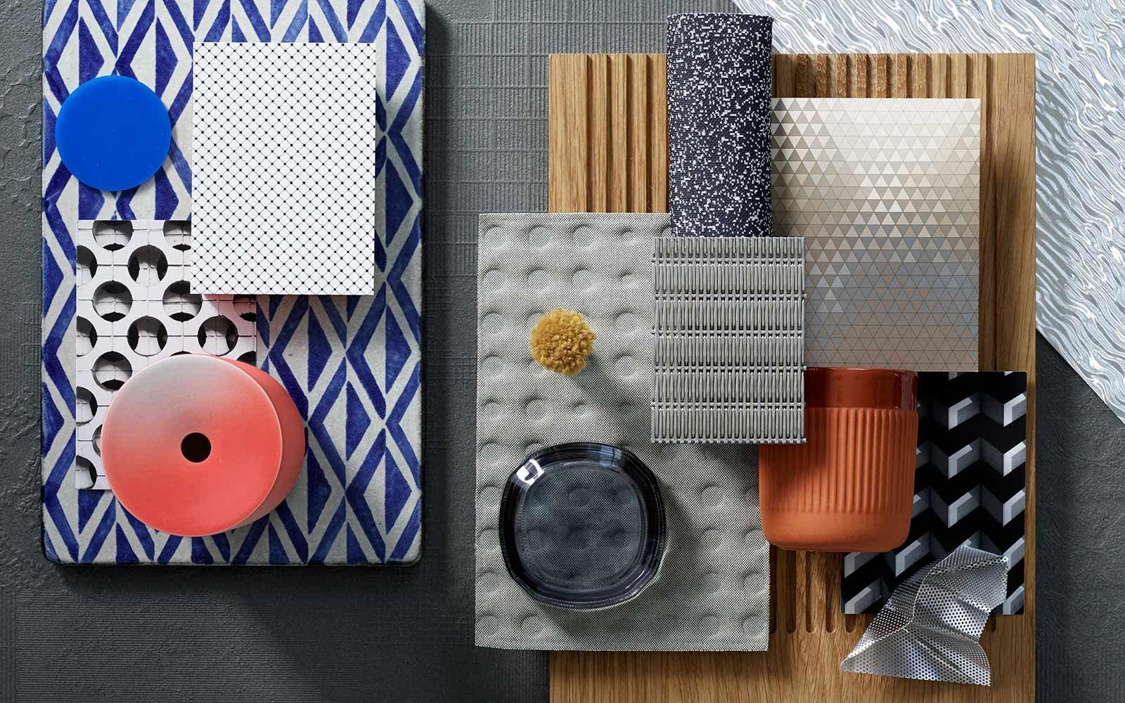 Materialien, die die Highline Express Graphic inspiriert haben wie Beton, Holz, Mauerwerk, Metall, Messing, Glass und Keramik